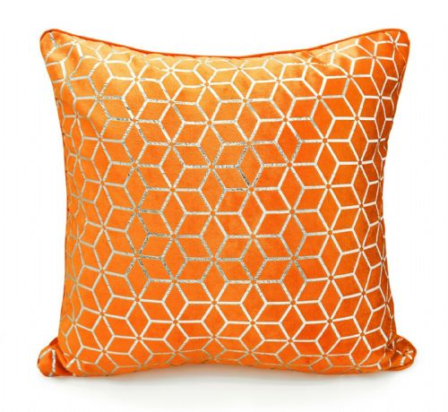Large Geometric Shimmer Glitzy Metallic Foil Print Design Filled Scatter Cushion Orange